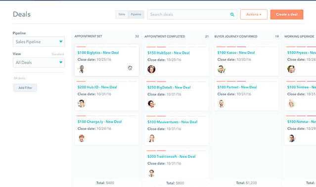 Hubspot CRM easy to use deals manager